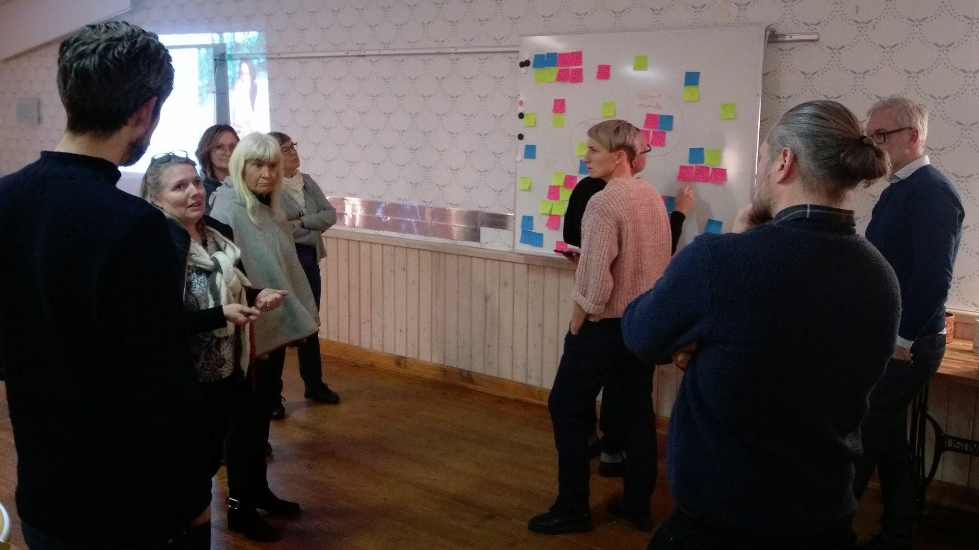 Personer som står och diskuterar vid en whiteboard med post it-lappar på.
