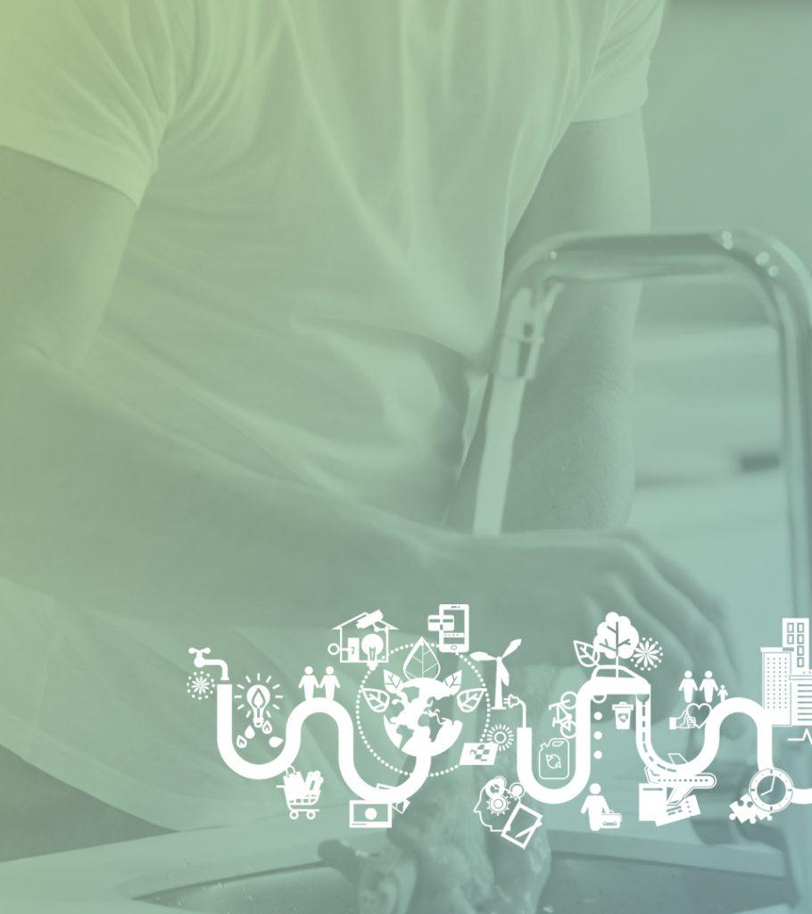 Person som spolar vatten ur en kran. Illustration som ska visa på energisystemet.