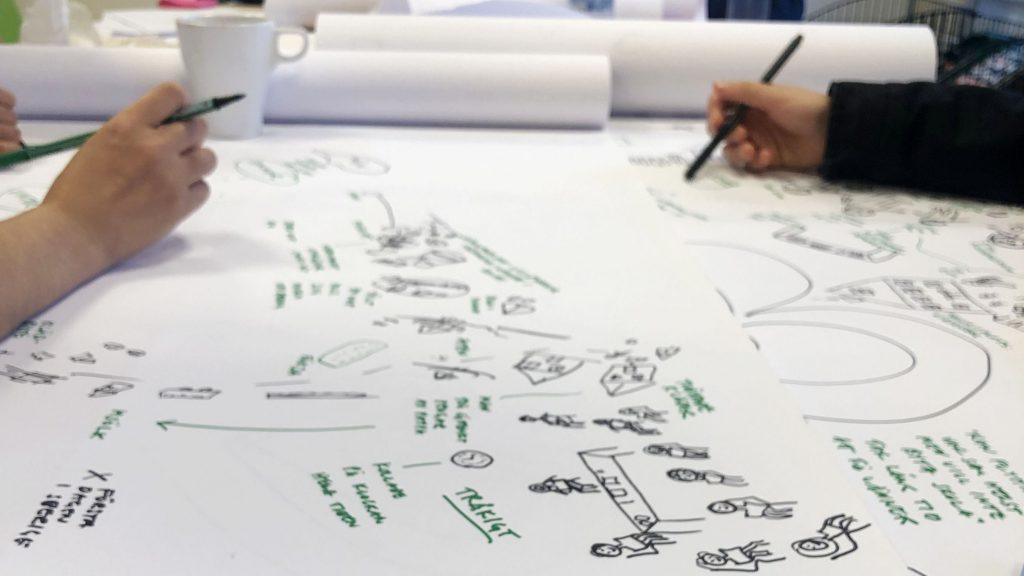 Skisser på ett papper.