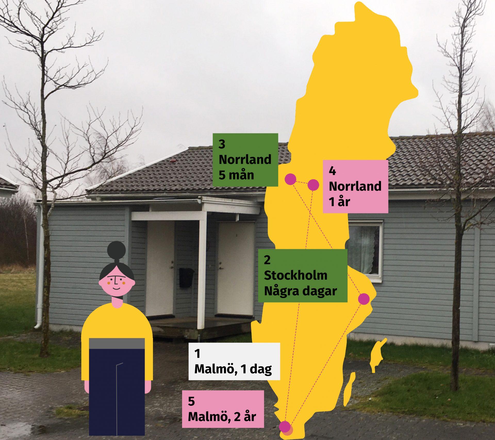Bild som visar ett hus. Framför står en ritad tjej och en Sverigekarta som visar alla platser tjejen har bott på, Malmö, Stockholm och i två ställen i Norrland.