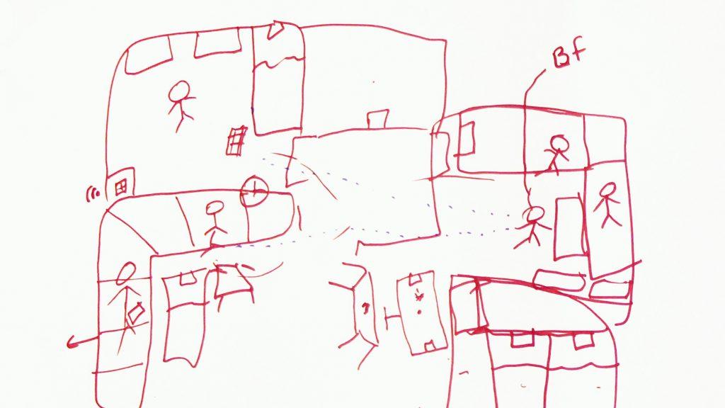 En teckning från ett barn som beskriver barnets vardag.