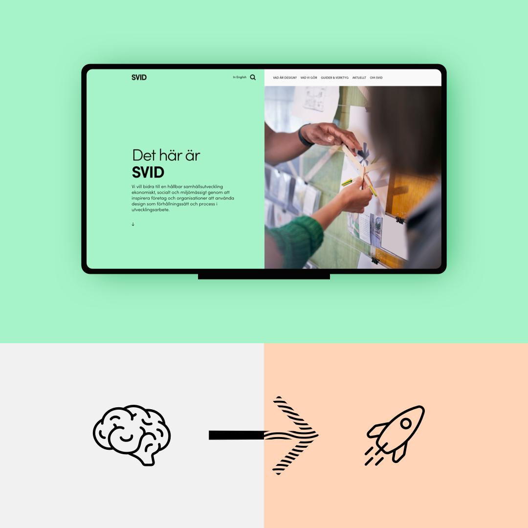 """Tvådelad illustration. Övre delen visar SVIDs förstabild på webbplatsen, med text till vänster """"Det här är SVID"""" och bild till höger på två händer som håller upp en figur med pinnar mot en vägg med papper uppsatta. Den undre bilden visar en illustrerad hjärna till vänster och en pil till höger mot en illustrerad rymdraket."""