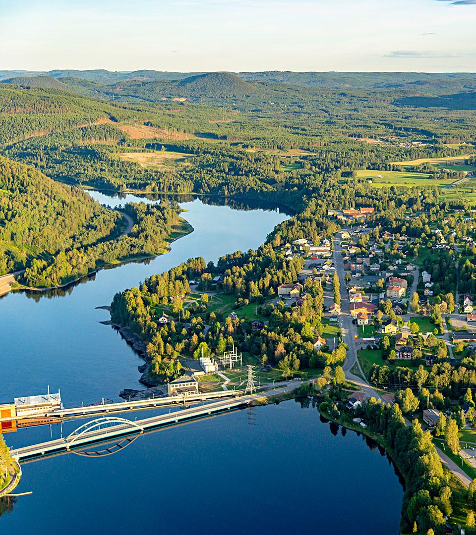 Flygfoto över Hammarstrand.