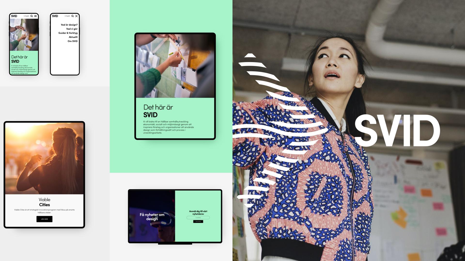 Illustration av SVIDs webb på mobiltelefon till höger. Till vänster bild på en tjej som står och pekar åt sidan, och en illustrerad pil ligger på bilden.