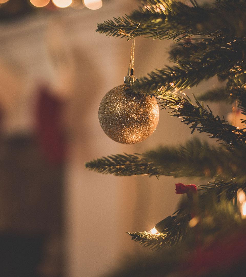 Julkula som hänger i gran