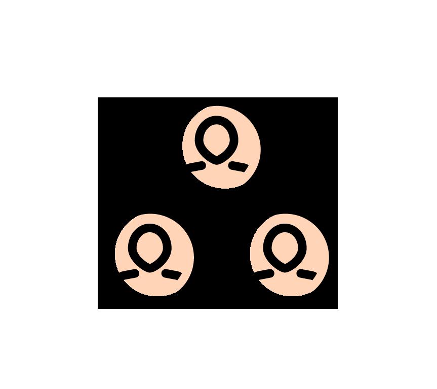 Illustration. Tre personer i ringar som är sammankopplade.